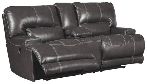 Signature Design Mccaskill Leather Solid Contemporary Dbl Recliner Power Loveseat with Console