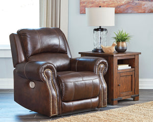 Signature Design Buncrana Leather Solid Contemporary Power Recliner Adjuster Headrest
