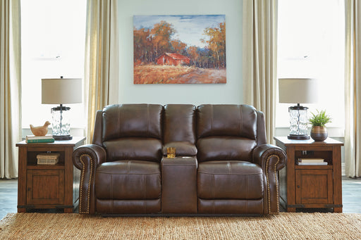 Signature Design Buncrana Leather Solid Contemporary Power Recliner Loveseat Console Adjuster Headrest