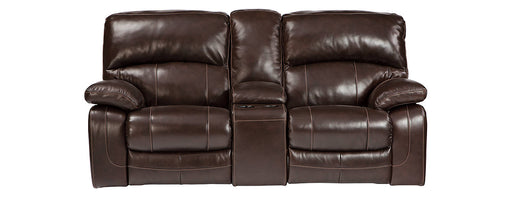 Signature Design Damacio Leather Solid Contemporary Glider Recliner Loveseat with Console