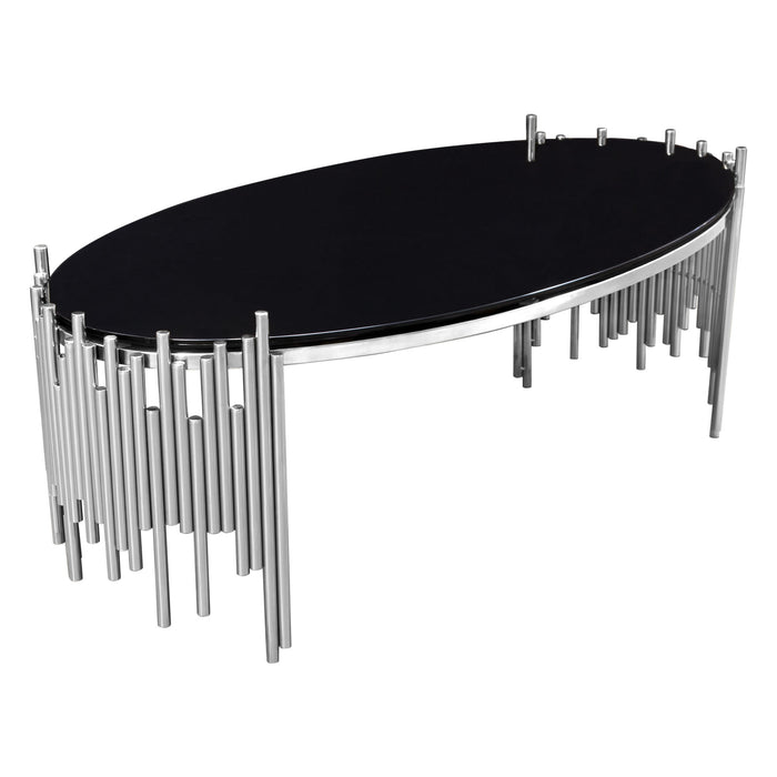 Vantage Oval Cocktail Table with Black Tempered Glass Top and Silver Finished - Silver