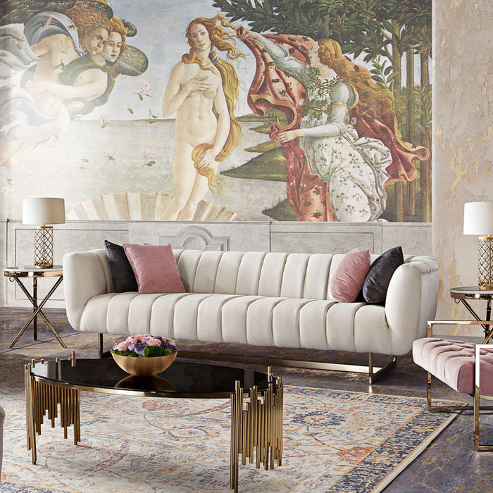 Venus Cream Fabric Sofa with Contrasting Pillows and Gold Finished Metal Base - Cream