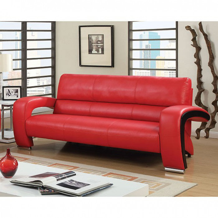 Wezen Breathable Leatherette Red Contemporary Sofa