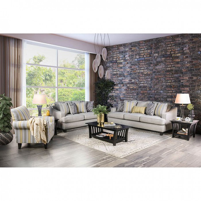 Wilkie Solid Wood Frame Light Gray Transitional Sofa