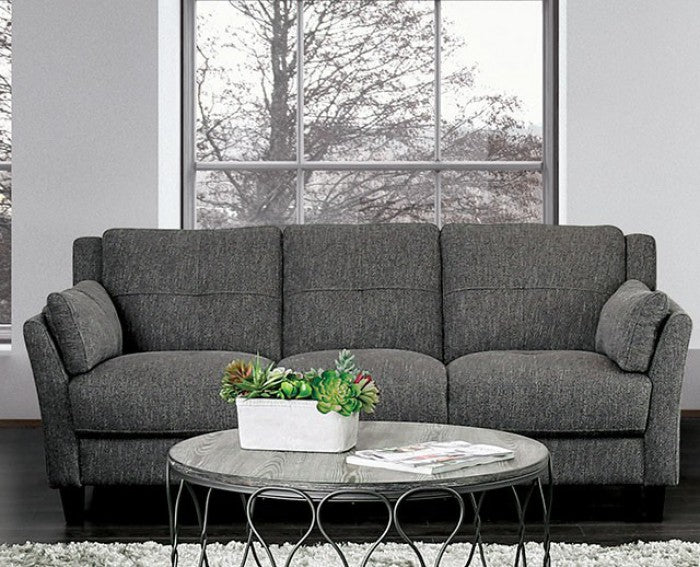 Yazmin Linen-Like Fabric Gray Wood Contemporary Sofa