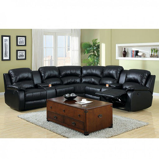 Aberdeen Black Transitional Recliners Leather Sectional