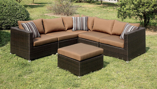 Abion Patio Fabric Brown Sectional Set