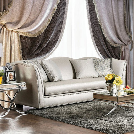 Alessandra Silky Fabric Silver/Gold Transitional Sofa
