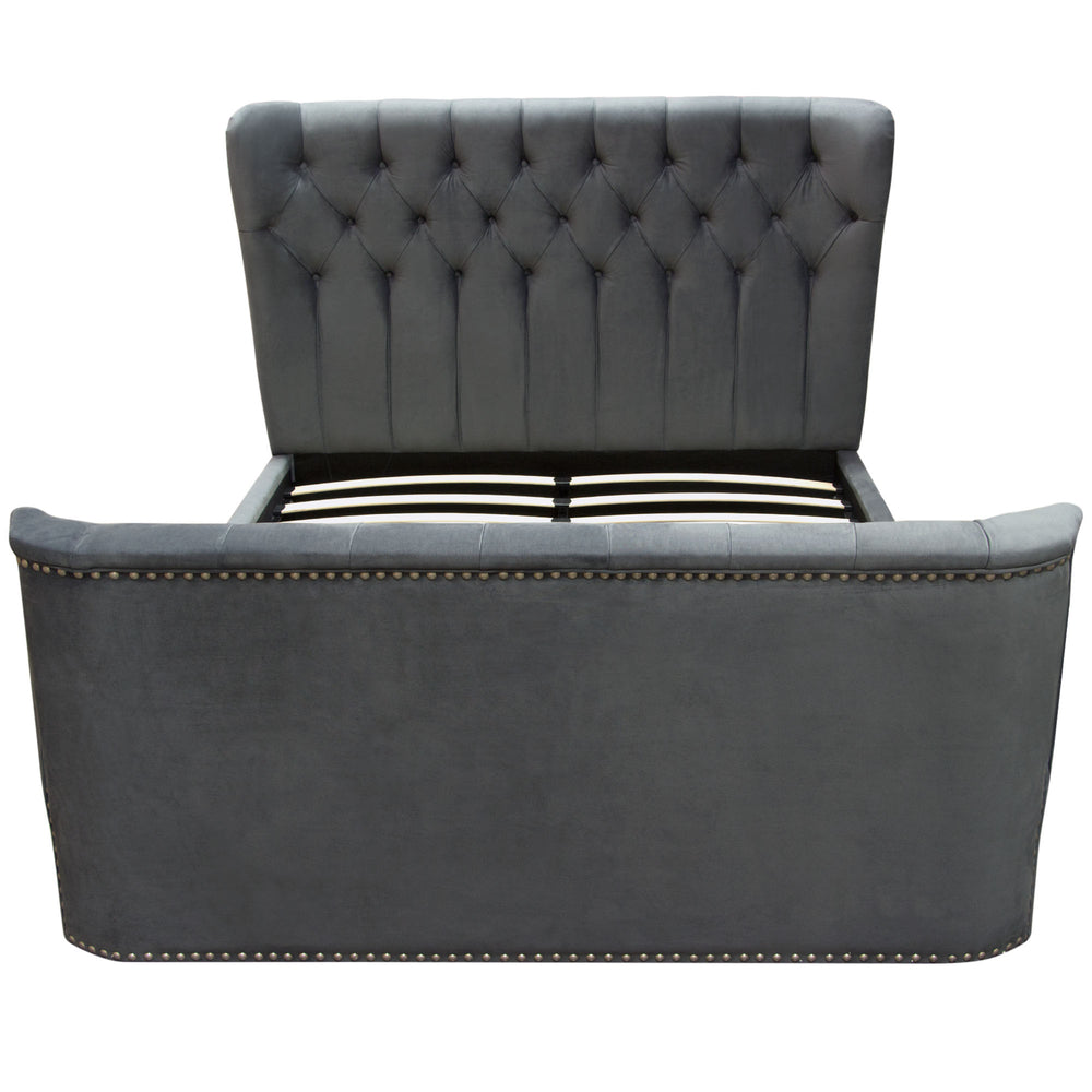 Allure Cal King Bed in Royal Grey Tufted Velvet with Nail head Accents - Grey