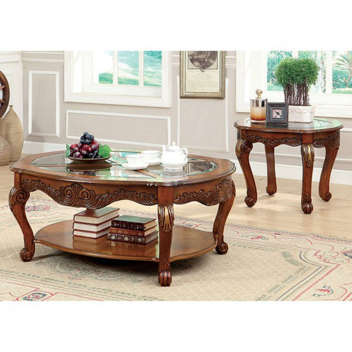 Amadis Tempered Glass Antique Oak Traditional Coffee Table