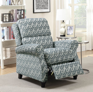 Amy  Blue Contemporary Push-Back Recliner