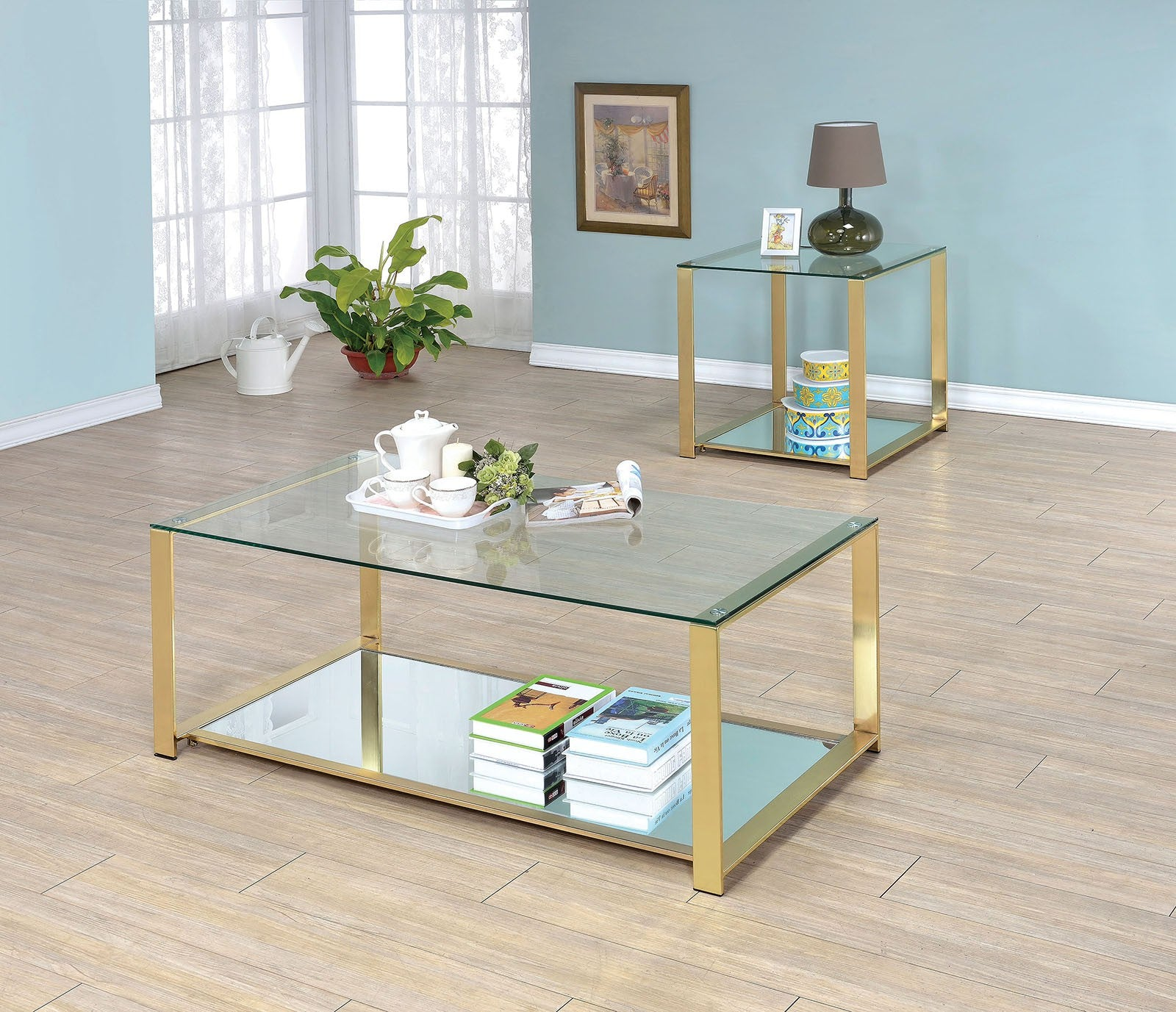 Aneta Metal Champagne Contemporary End Table