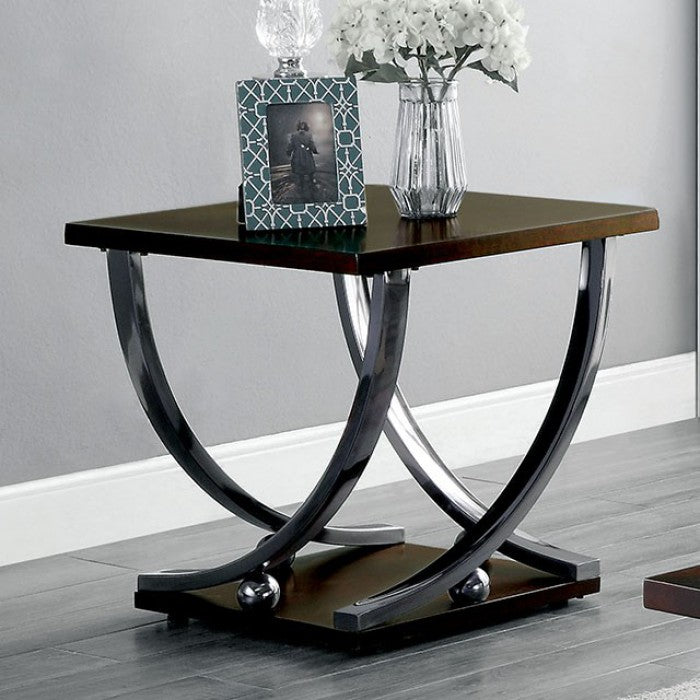 Angra Metal Brown Cherry Contemporary Coffee Table