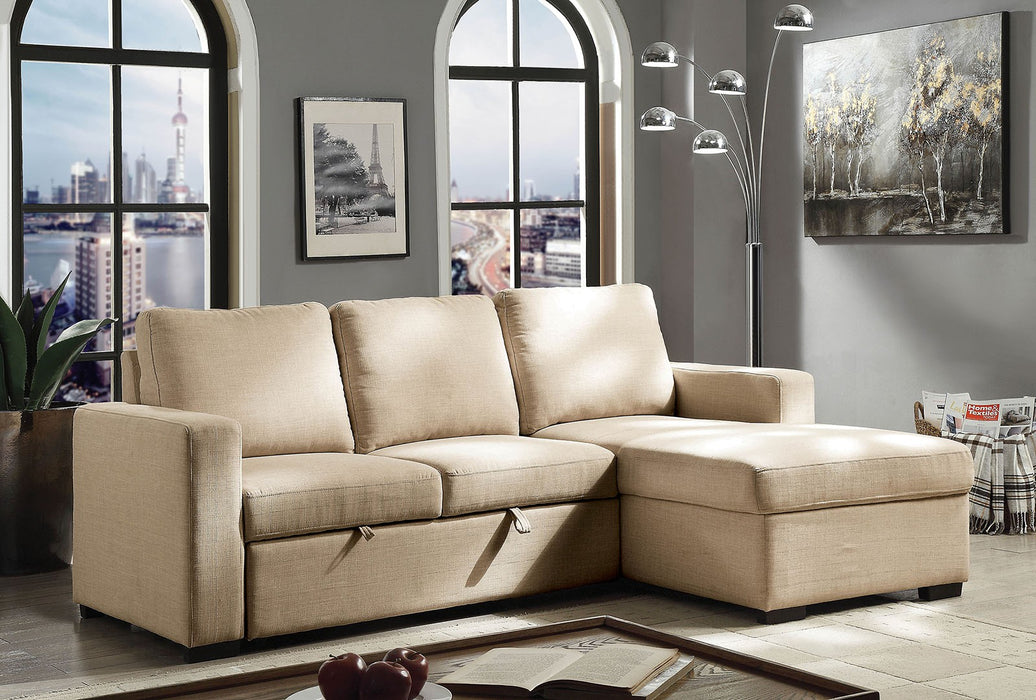 Arabella Beige Transitional Espresso Sectional