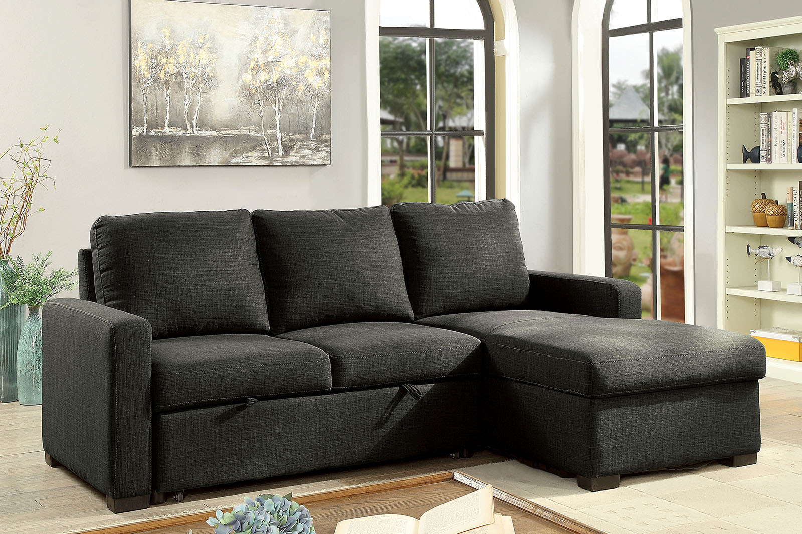 Arabella Dark Gray Transitional Espresso Sectional
