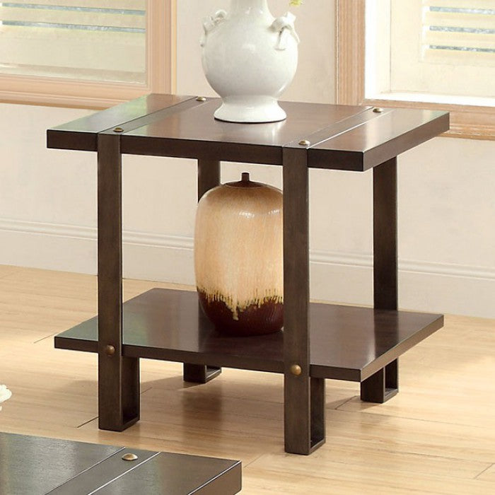 Arbor Metal Dark Oak Industrial End Table