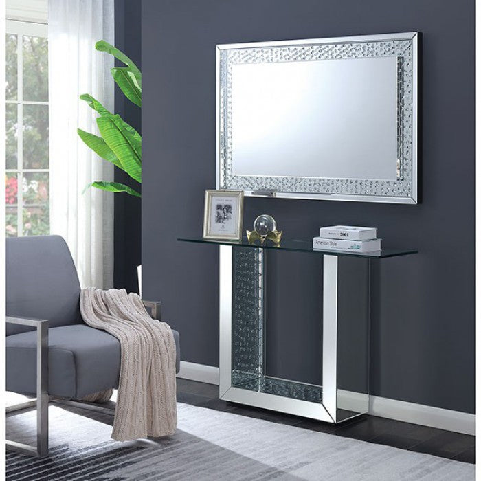 Arell Crystal Silver Contemporary Console Table
