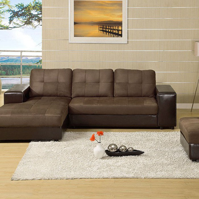 Aspen Dark Brown & Espresso Transitional Leatherette Sectional