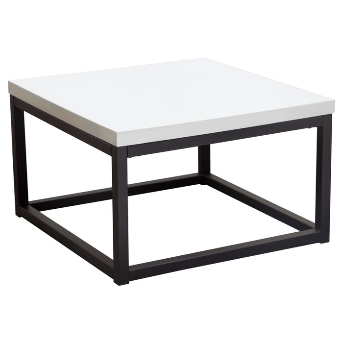 Atlus 3-Piece Nesting Cocktail Set with White Lacquer Tops and Black Powder Coated Metal Base - White