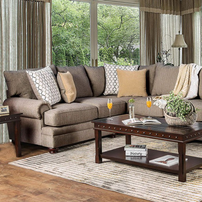 Augustina Cream/Brown Contemporary Solid Wood Track Arms Sectional