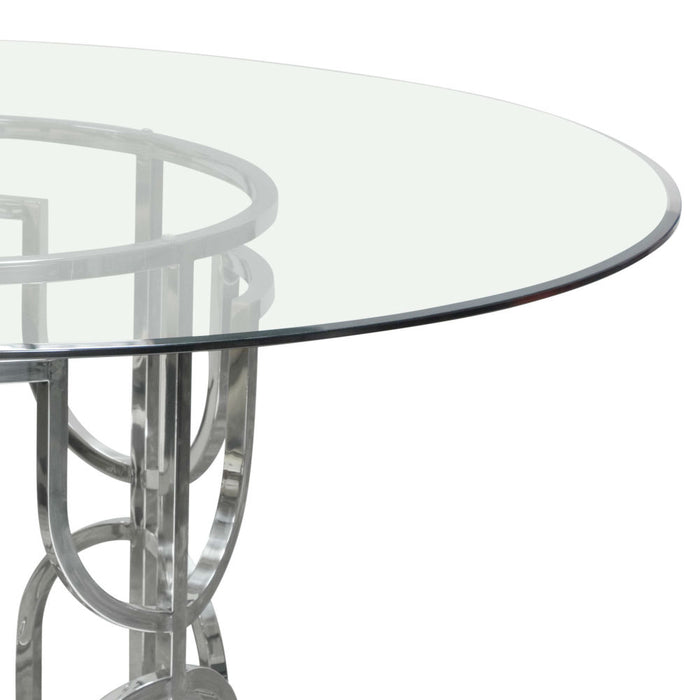 Avalon 54 Inch Round Glass Top Dining Table With Round