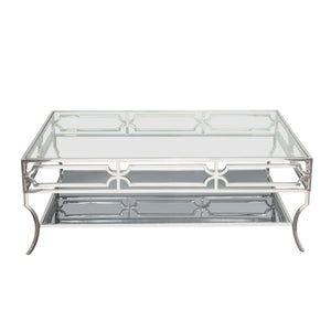 Avalon Cocktail Table with Clear Glass Top Mirrored Shelf and Stainless Steel Frame - Stainless Steel