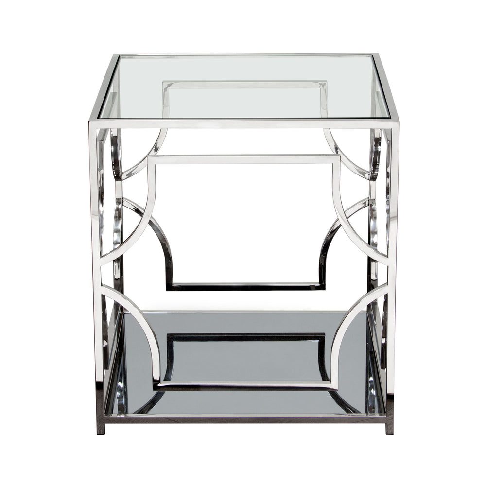 Avalon End Table with Clear Glass Top Mirrored Shelf and Stainless Steel Frame - Stainless Steel