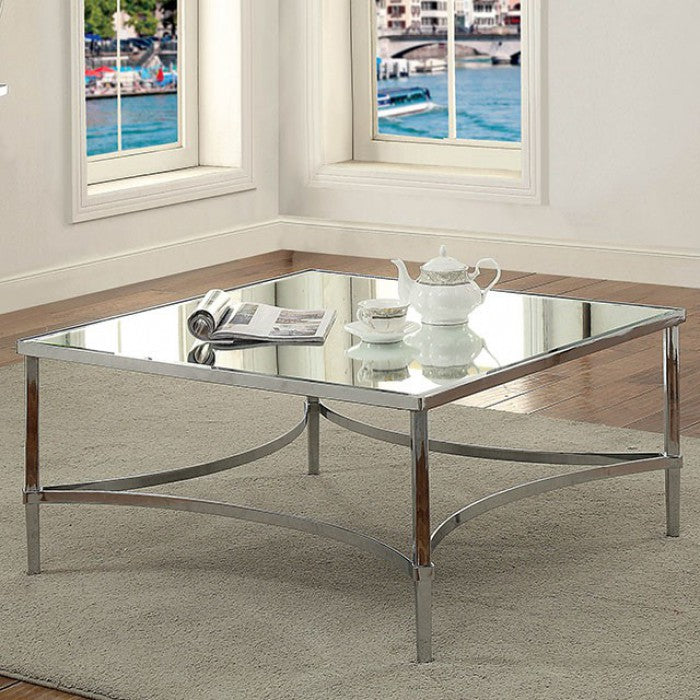 Ayanna Chrome Contemporary Square Coffee Table