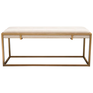 Babylon Large Bench Ottoman with Brushed Gold Frame and Padded Seat in Sand Linen - Sand/Gold