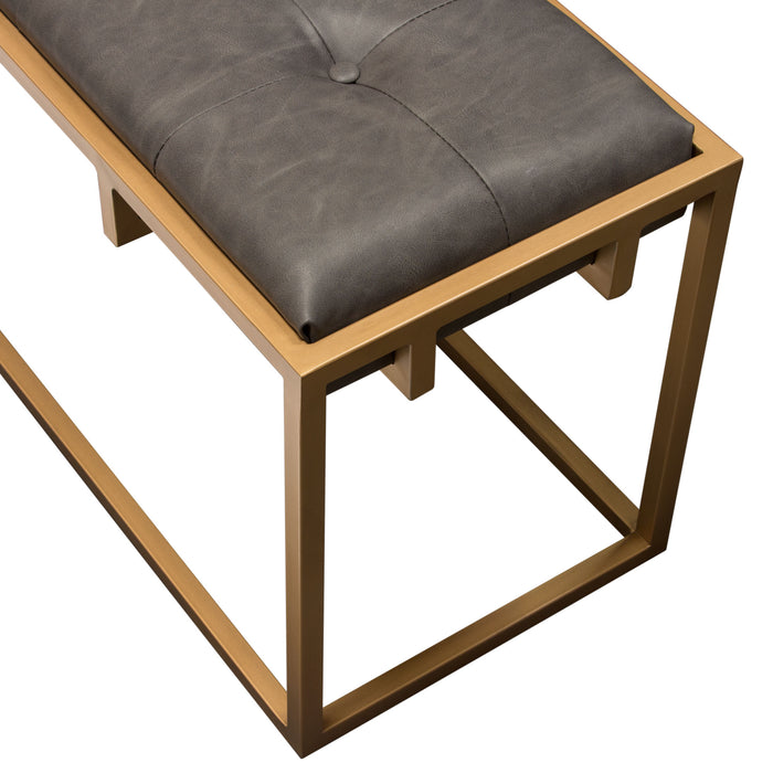 Babylon Large Bench Ottoman With Brushed Gold Frame And Padded Seat In Weathered Grey Pu
