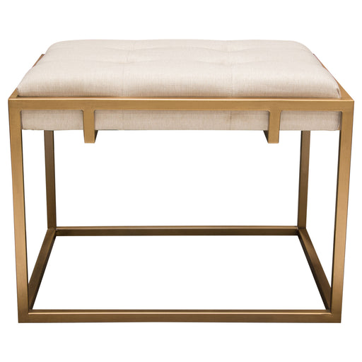 Babylon Small Accent Ottoman with Brushed Gold Frame and Padded Seat in Sand Linen - Sand/Gold