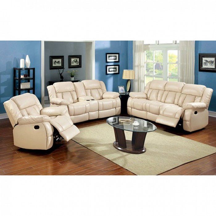 Barbado Bonded Leather Ivory Transitional Sofa