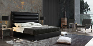 Bardot Channel Tufted Cal King Bed in Black Leatherette - Black
