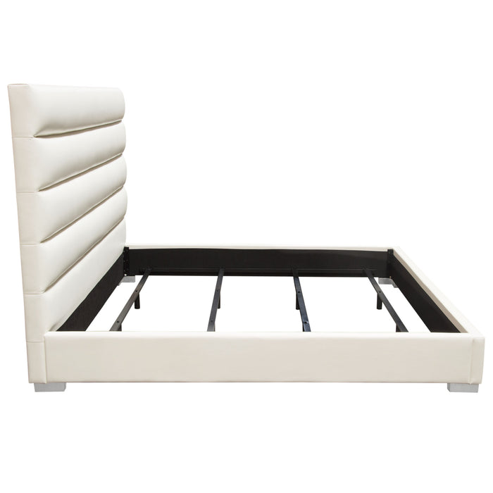 Bardot Channel Tufted Cal King Bed in White Leatherette - White