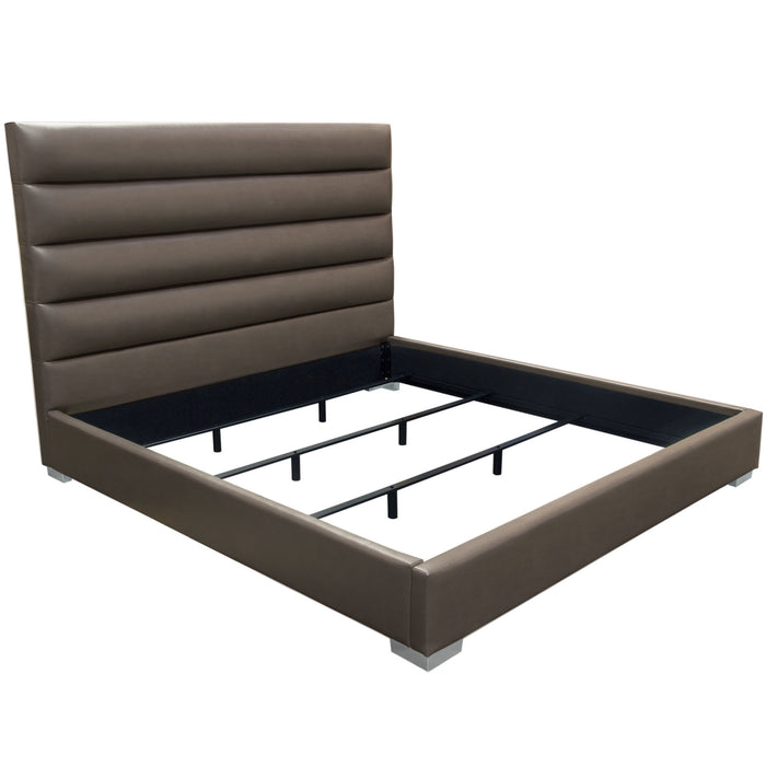 Bardot Channel Tufted Eastern King Bed in Elephant Grey Leatherette - Grey