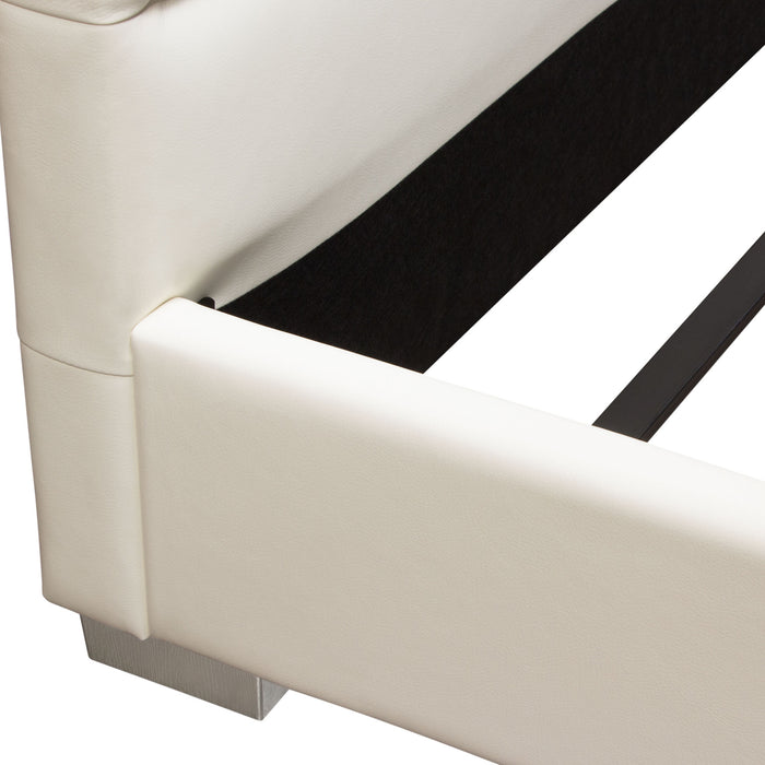 Bardot Channel Tufted Eastern King Bed in White Leatherette - White