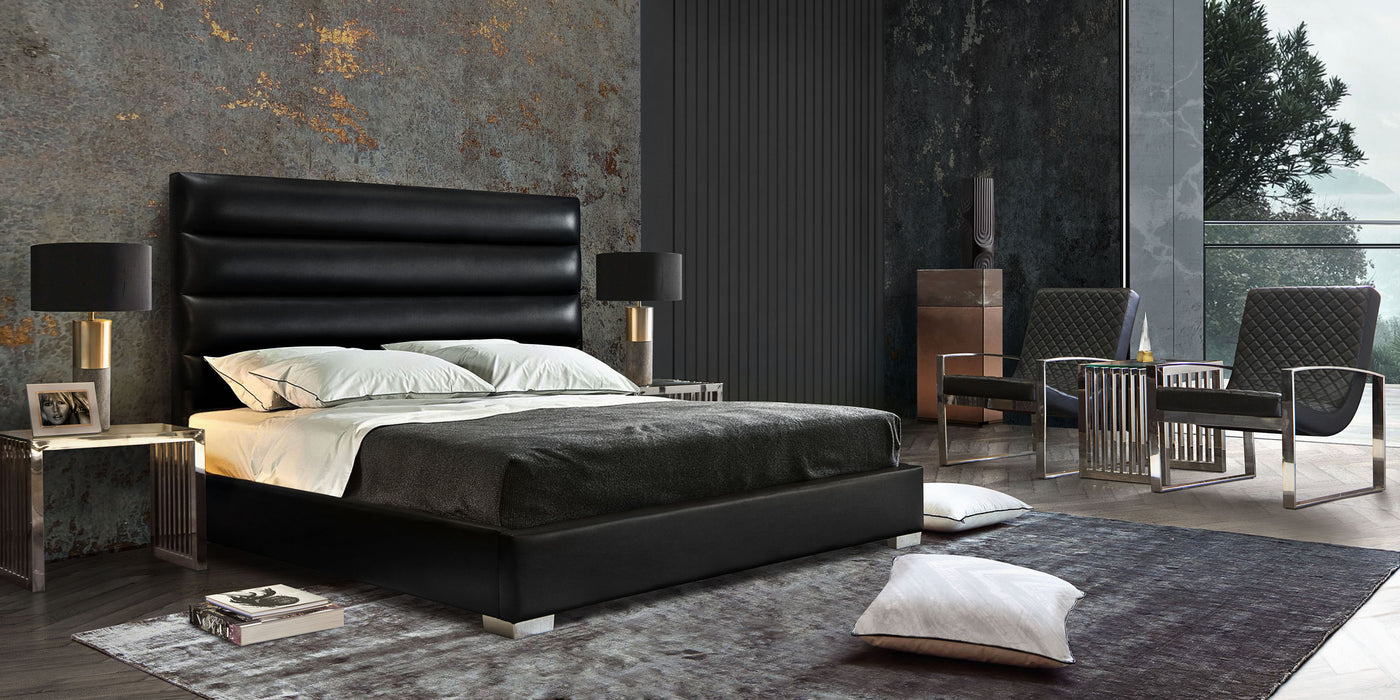 Bardot Channel Tufted Queen Bed in Black Leatherette - Black