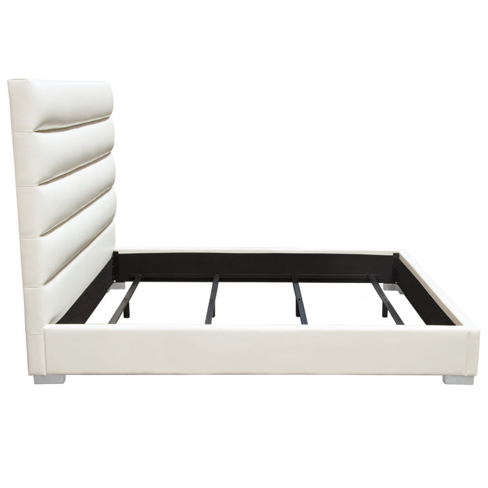 Bardot Channel Tufted Queen Bed in White Leatherette - White