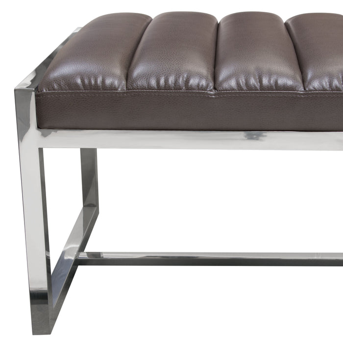 Bardot Large Bench Ottoman Padded Seat In Black Leatherette