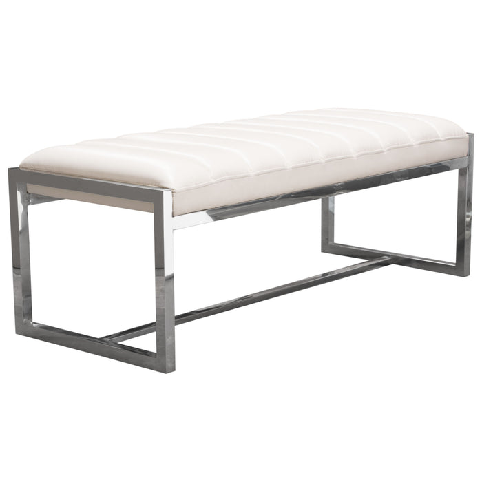 Bardot Large Bench Ottoman Padded Seat in White Leatherette - White