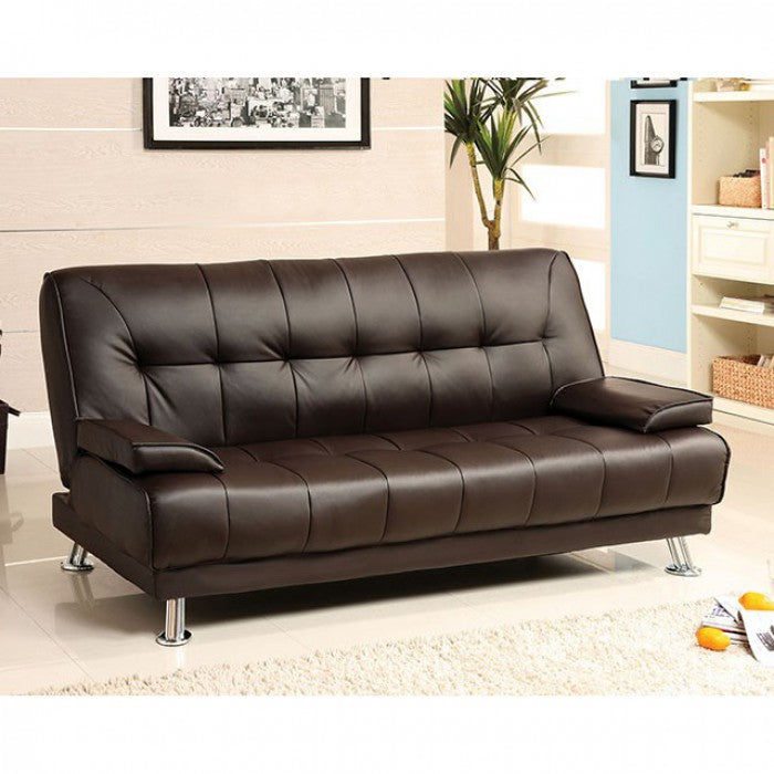 Beaumont Leatherette Dark Brown Chrome Contemporary Futon Sofa