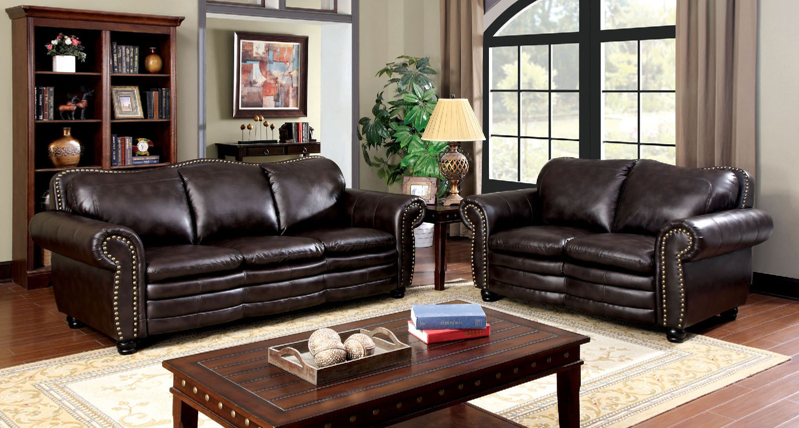 Benedict Bonded Leather Match Dark Brown Transitional Sofa