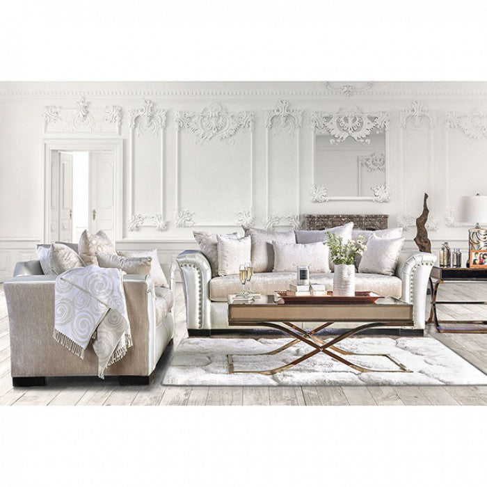 Benigno Velvet-Like Fabric Pearl Transitional Sofa