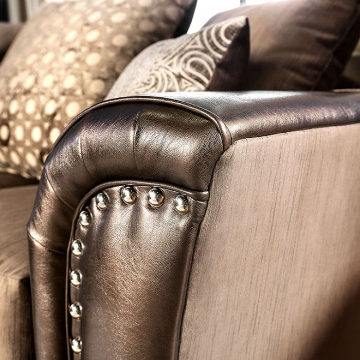 Benigno Velvet-Like Fabric Brown Transitional Sofa