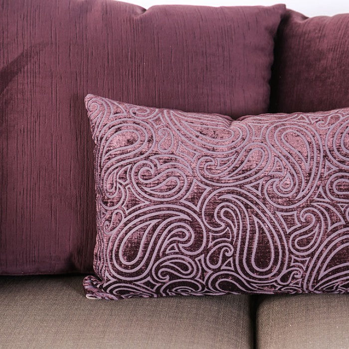 Benigno Velvet-Like Fabric Pewter/Purple Transitional Sofa