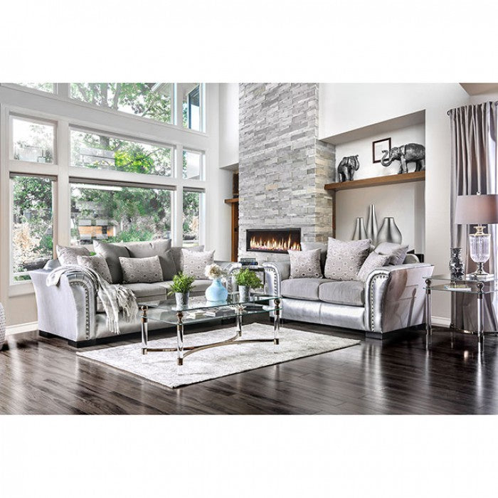 Benigno Velvet-Like Fabric Silver Transitional Sofa