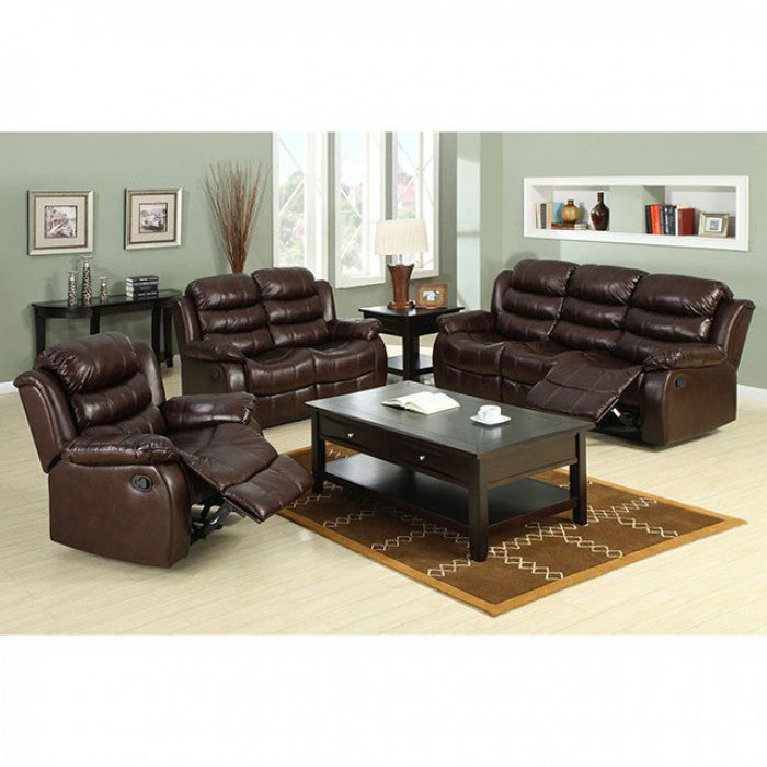 Berkshire Bonded Leather Match Rustic Brown Transitional Sofa