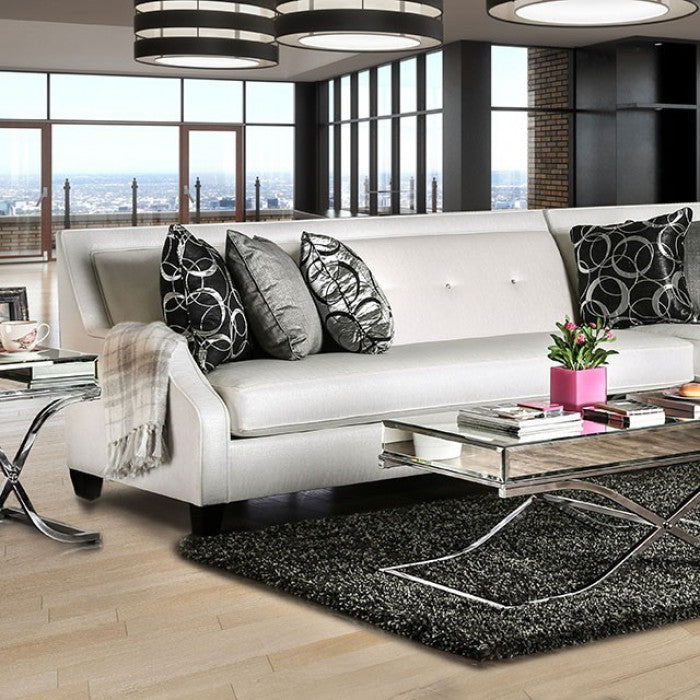 Betria Off-white Transitional Fabric Acrylic Buttons Sectional