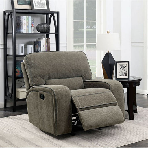 Bickford Chenille Taupe Contemporary Power-Assist Chair