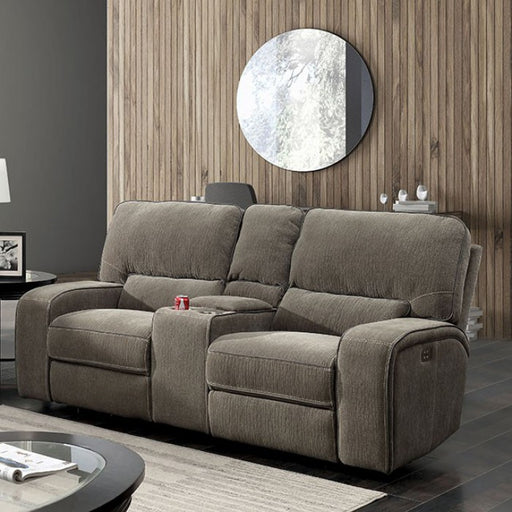 Bickford Chenille Taupe Contemporary Power-Assist Love Seat